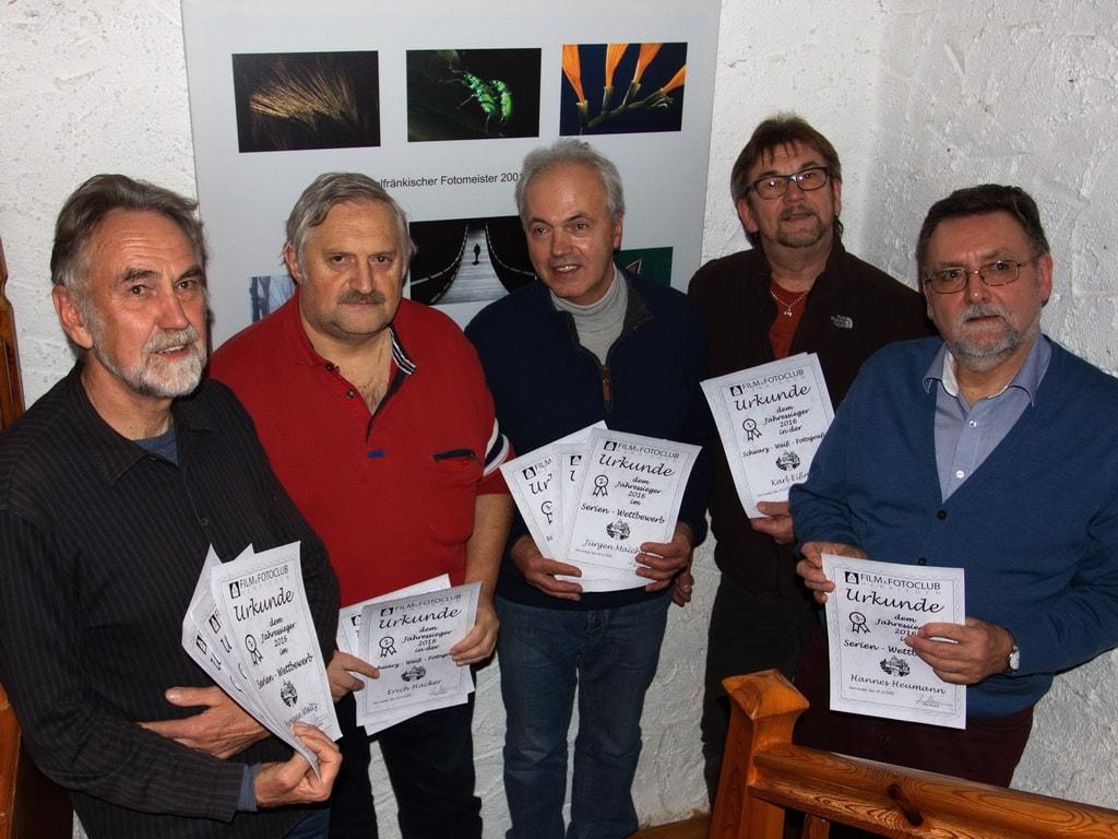 Jahressieger 2016 (v.l.n.r. Hermann Waltz, Erich Hacker, Jürgen Maicher, Karl Eißner, Johannes Heumann - Bild: Reinhardt Schmidt